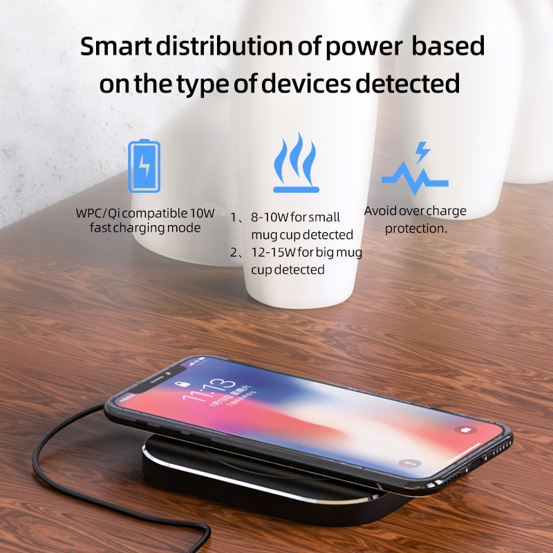 55 Degree Thermostatic Heating Intelligent Wireless Charger