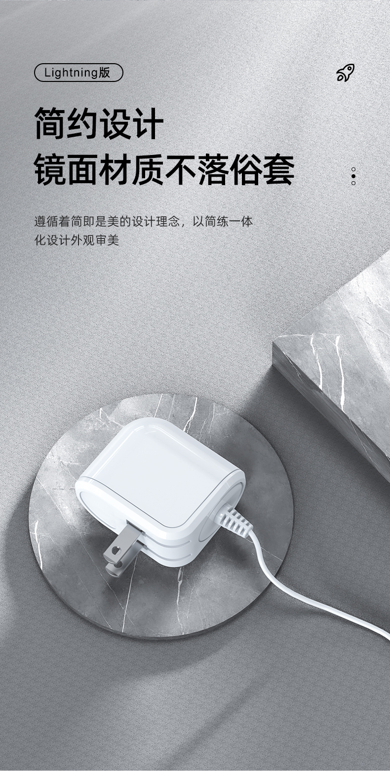 C06 12W 2.4A Quick Charge Travel Charger with Built-in Cable