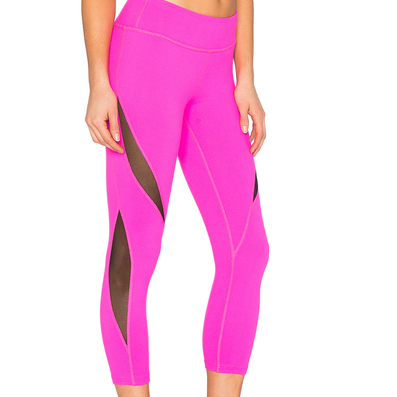 pink stitching mesh  lady sport leggings