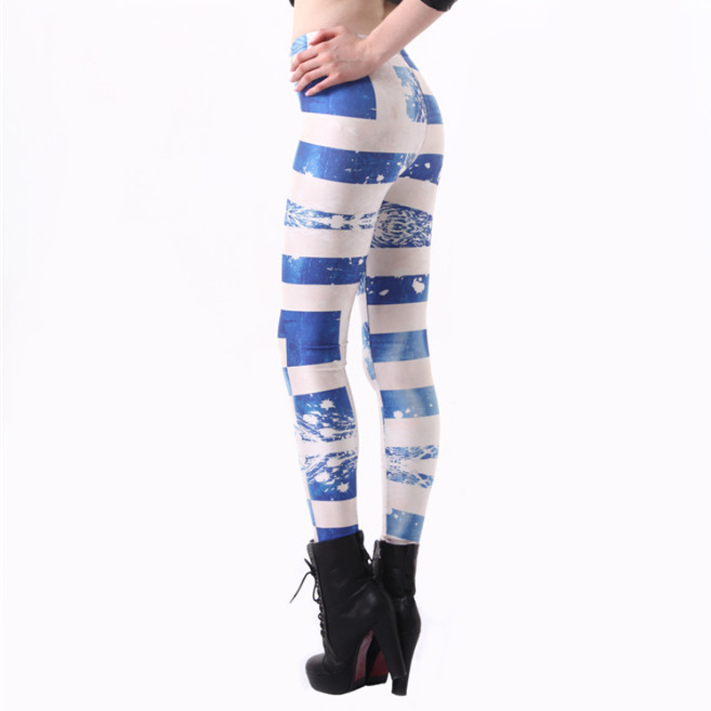 blue and white stitching printing leggings