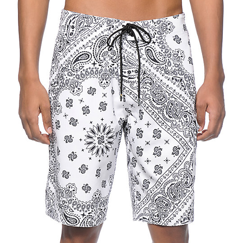 custom street style white print board shorts China manufactu