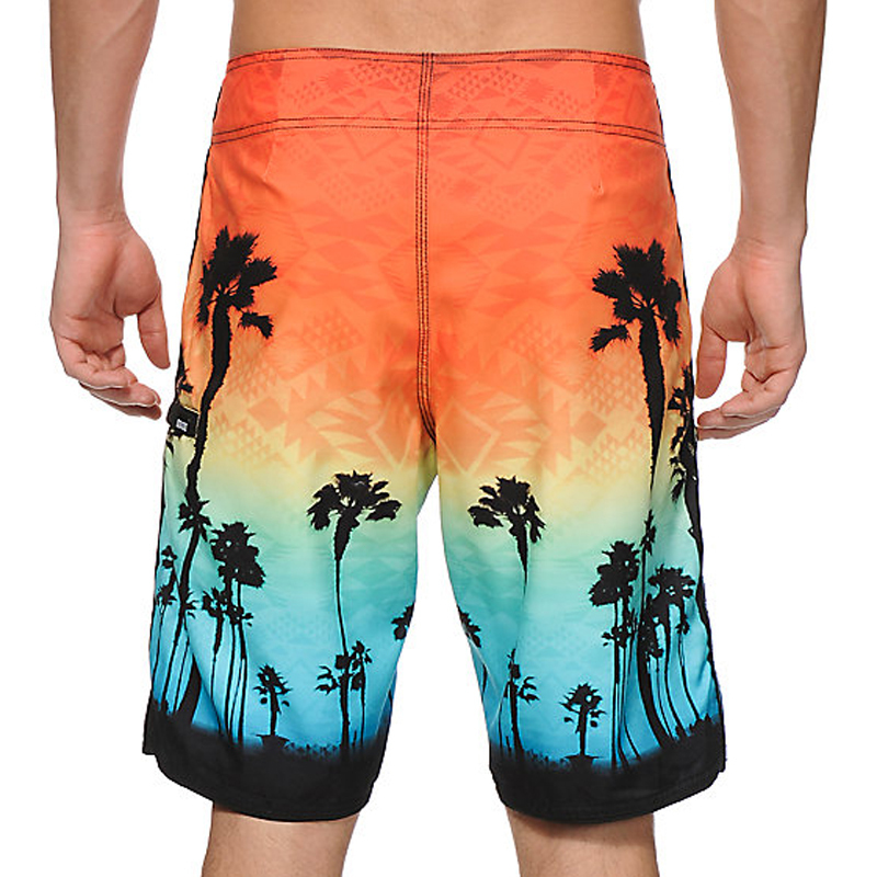 sunset coconut tree board shorts factory China