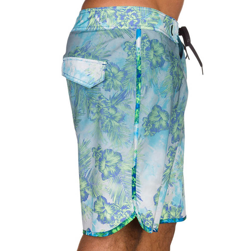 aqua floral print men board shorts beach wear