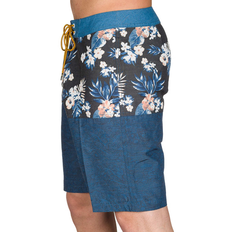 dark blue flower print 100% polyester board shorts