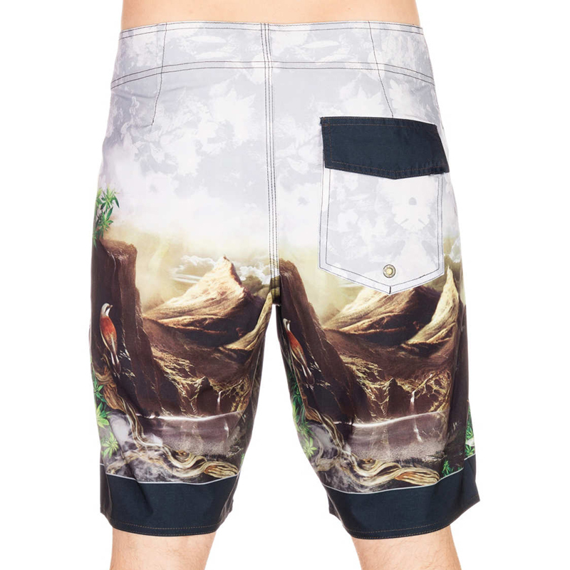 forest bird print street wear beach wear board shorts