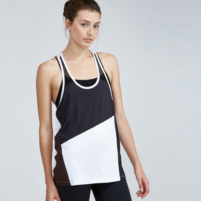 Black and white fitness women tank tops
