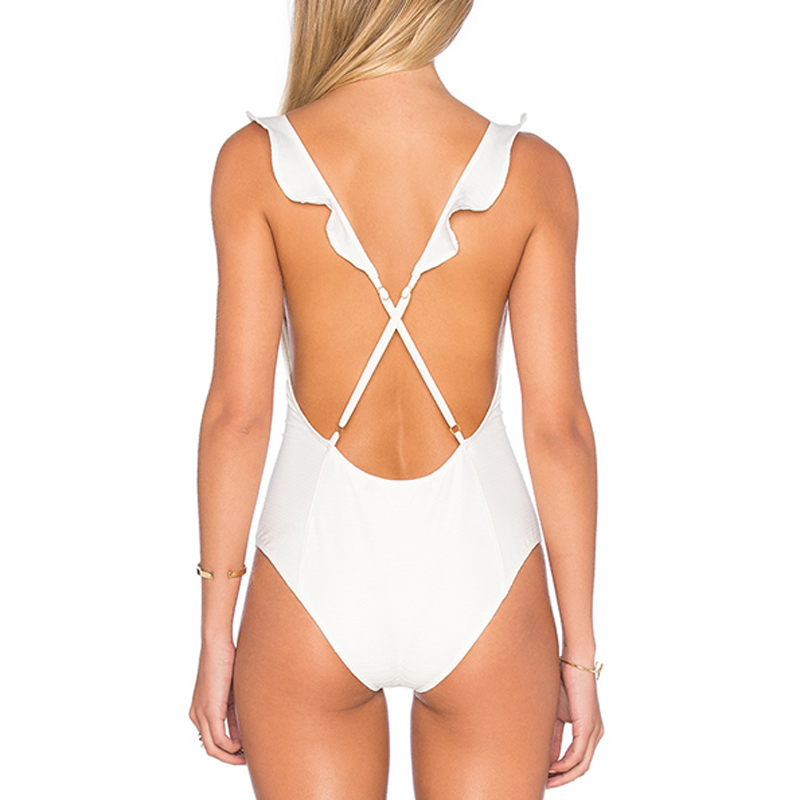pure white cross-back one piece bikini wholesale