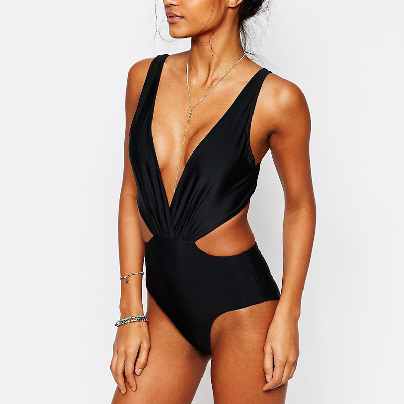 black high cut back bow tie one piece swimear swimming suit
