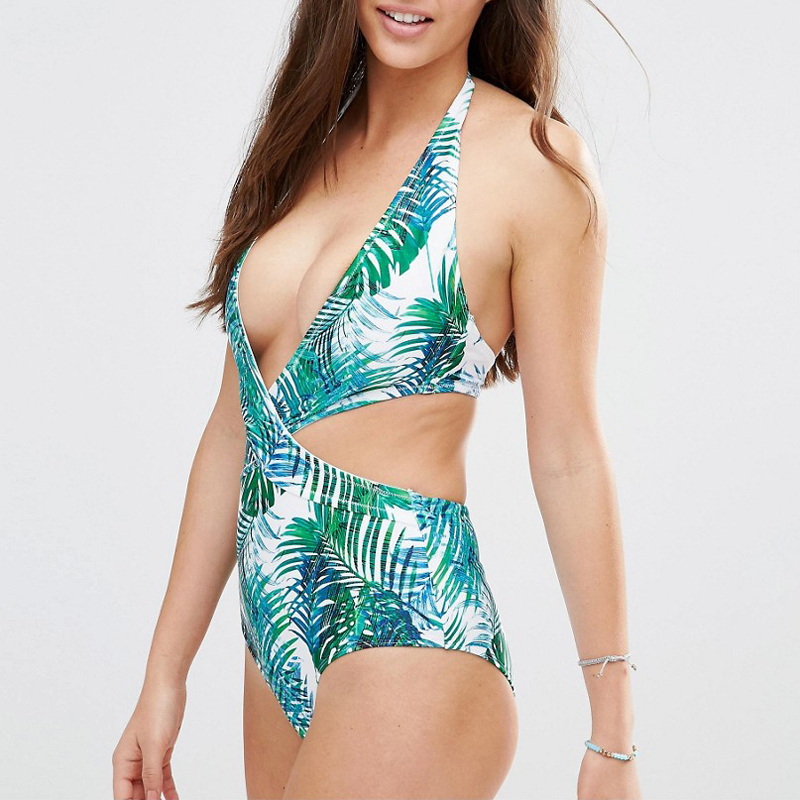 leaves print cut-out one piece beachwear bikini