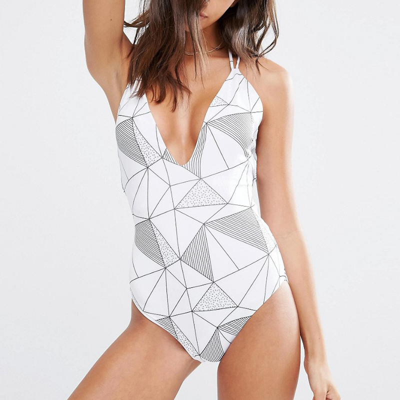 geometric patterns back bandage bikini swimwear