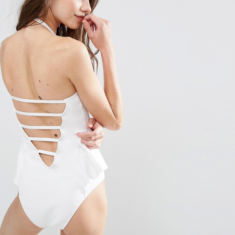 solid white push up one piece swimwear beach wear