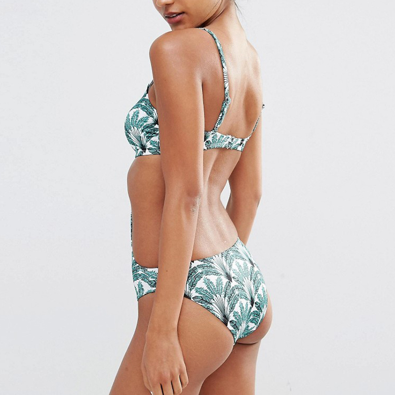 custom green feather print one piece swimwear