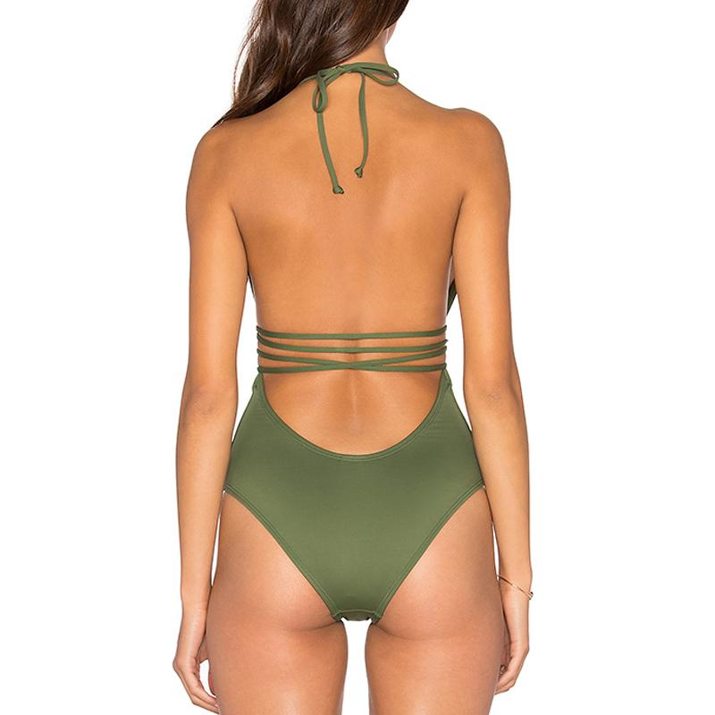 b3cf2433c halter de oliva de color verde oscuro V traje de baño bikini