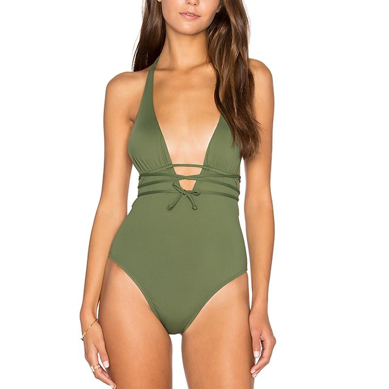 Bikini Traje De V Baño Oliva Halter Color Verde Oscuro luJFc35K1T