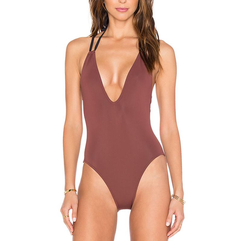 maroon cross-back one piece swimwear bikini