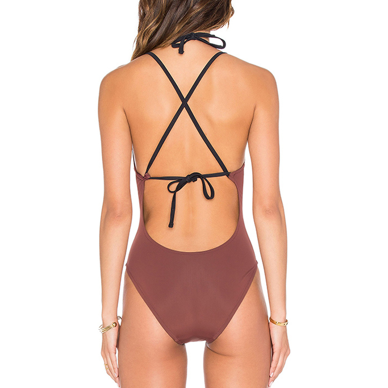 maroon cross-back one piece swimwear bikini