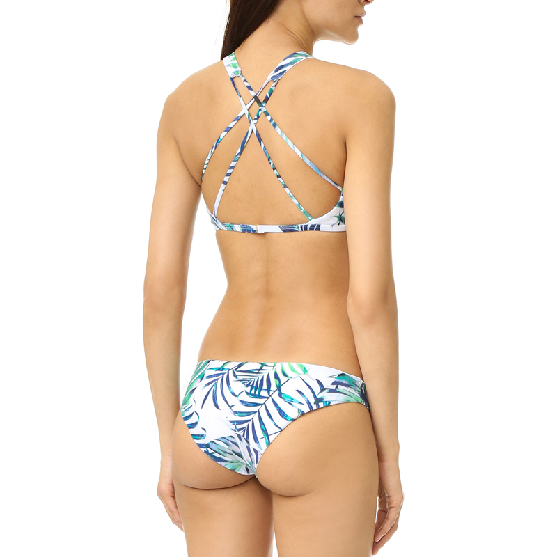 leaves print high neck cross-back bikini factory price