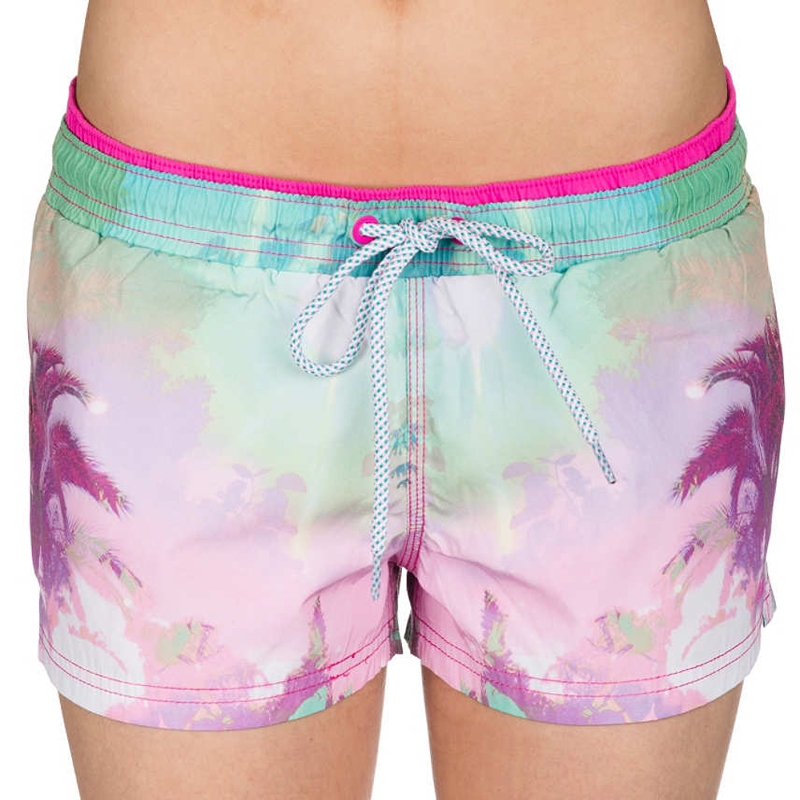 tropical tree print polyester board shorts swim trunk