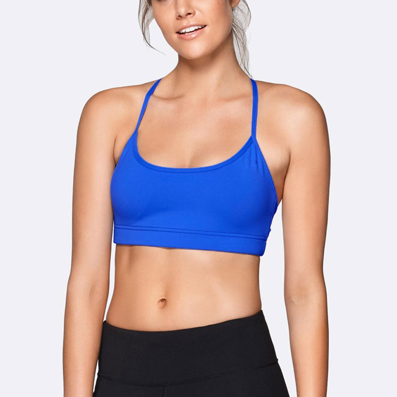 blue thin strap sports bra yoga wear manufacturer