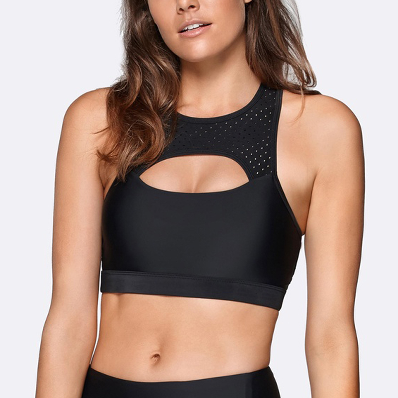 black shockproof athletic meah gym wear sports bra