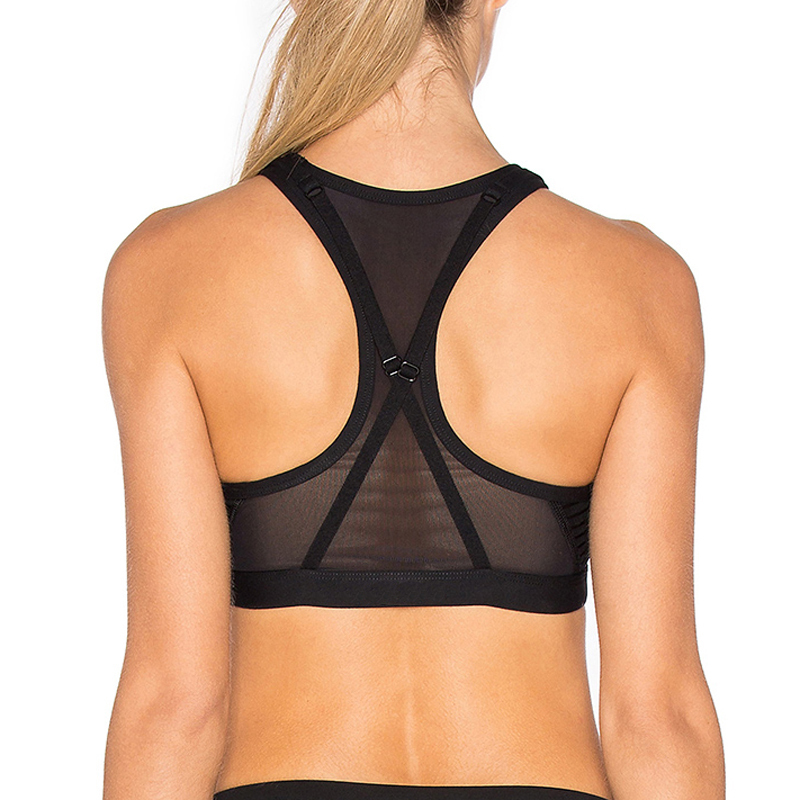 OEM black mesh stylish sports bra yoga wear