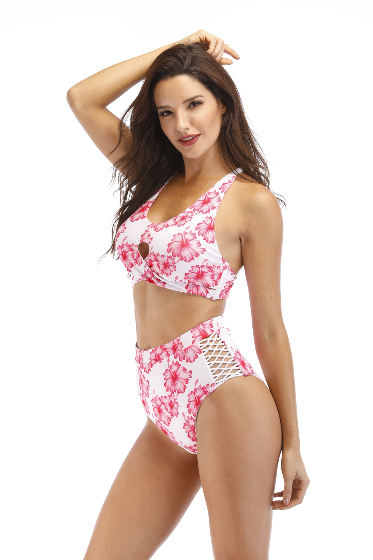 Women Beach Wear Two Pieces Tankini Cross Front With Side De