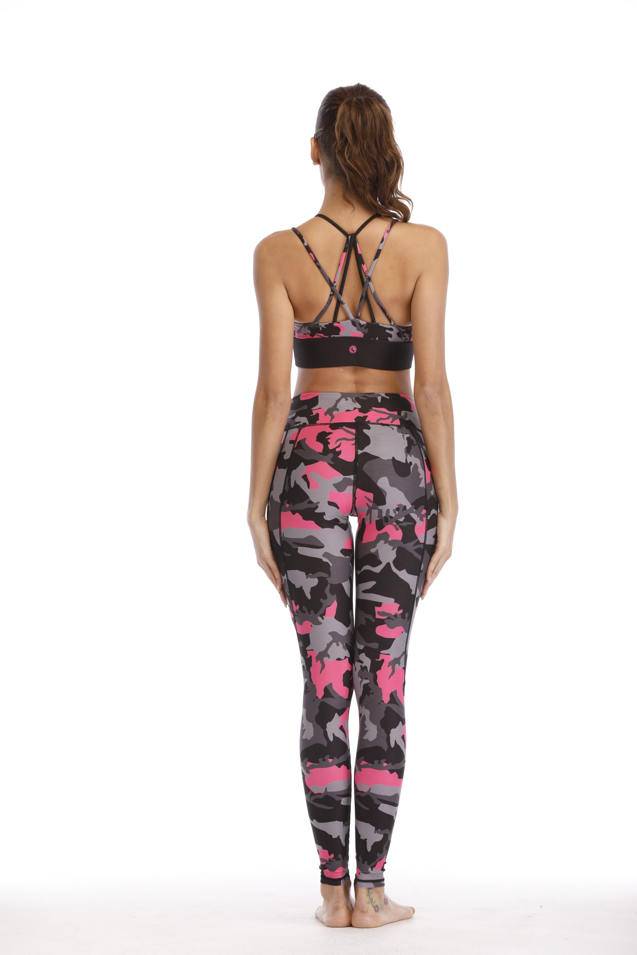 Girls Printed Fitness Wear Sports Bra And Leggings With Back