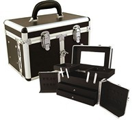 Three Opening Doors Cosmetic Case with Drawers and Extendabl