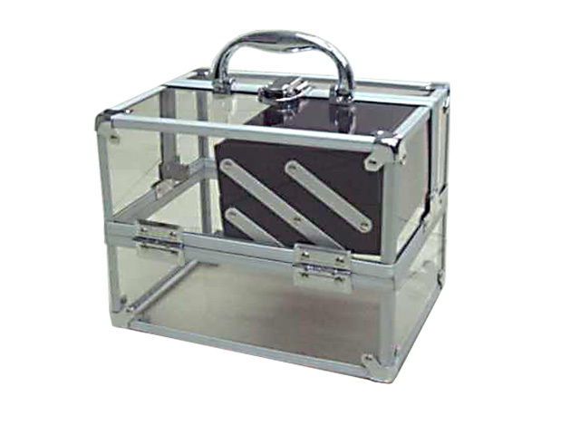 Transparent Acrylic Carrying Cosmetic Case with Two Extendab