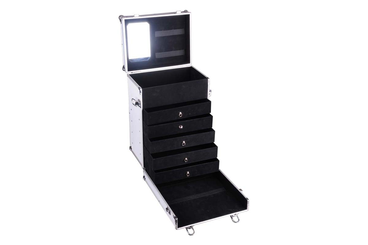 Cosmetic Case with Trolley and Five Drawers- JM039