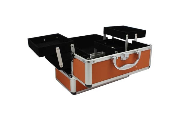 Orange Cosmetic Carrying Case with Four Extendable Trays- JM