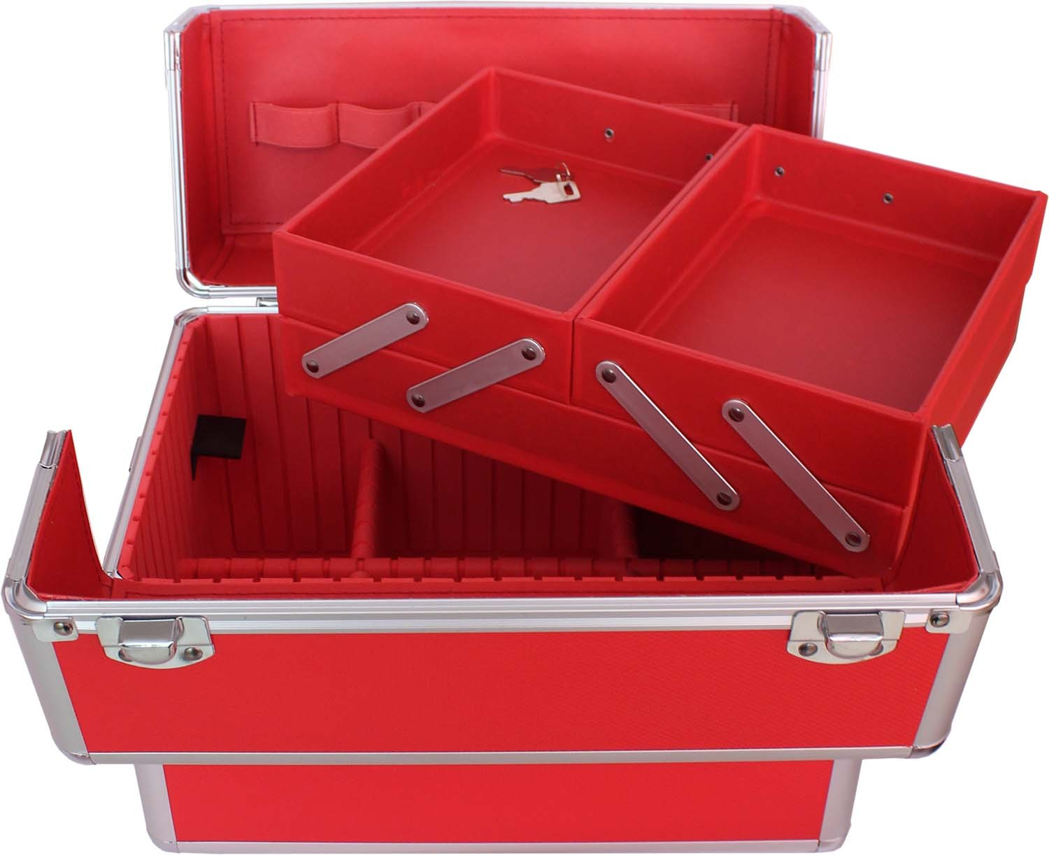 The aluminum beauty case with removable &extendable trays .