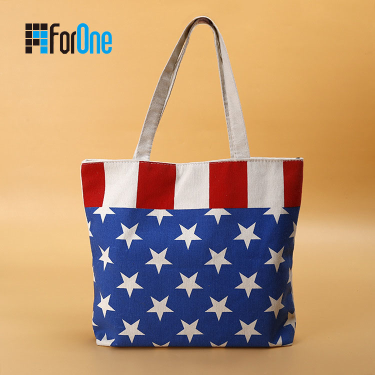 Canvas Tote Bag Shopping Bag with Zipper