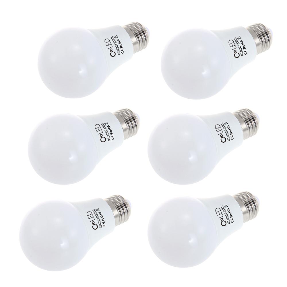 Pack of 6 E27 10W LED Bulbs  3000/ 6000K