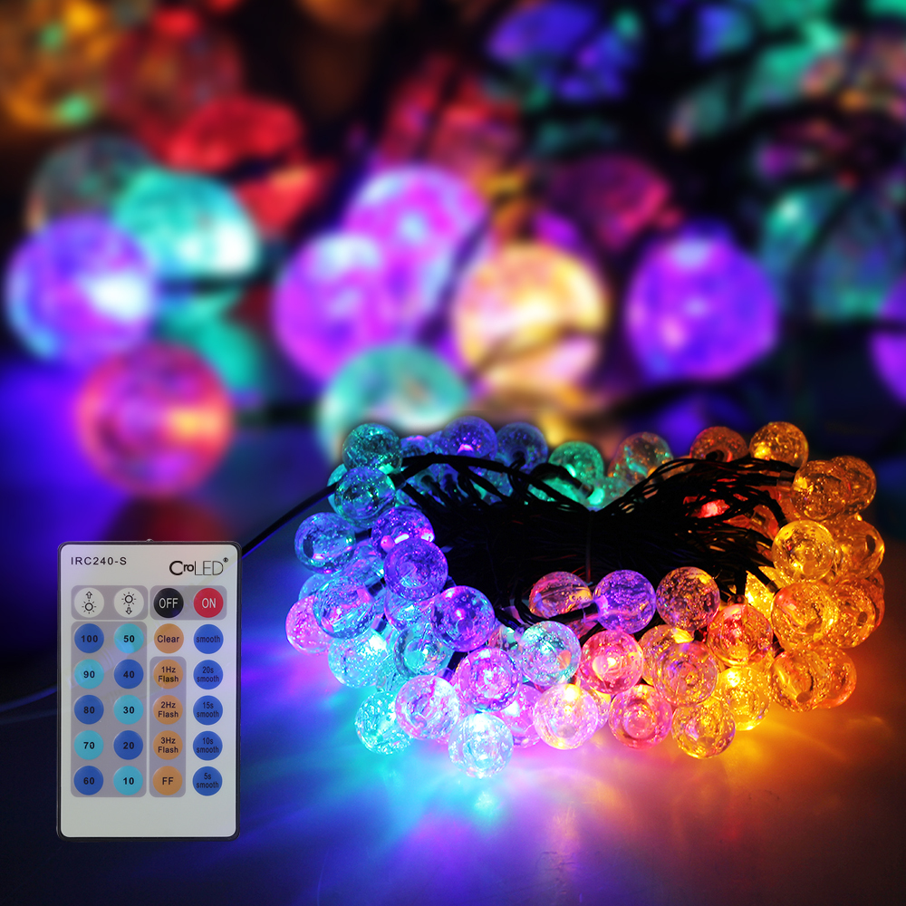 15M 100LEDs RGB Lights Bubble String Light Dimmable IP65+Con