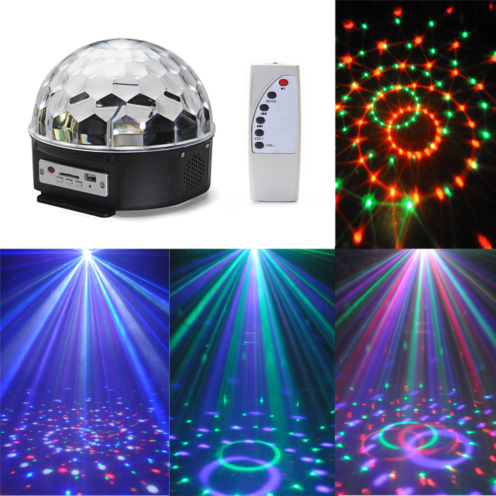 12W RGB LED MP3 DJ Disco Party Crystal Ball Stage Lighting