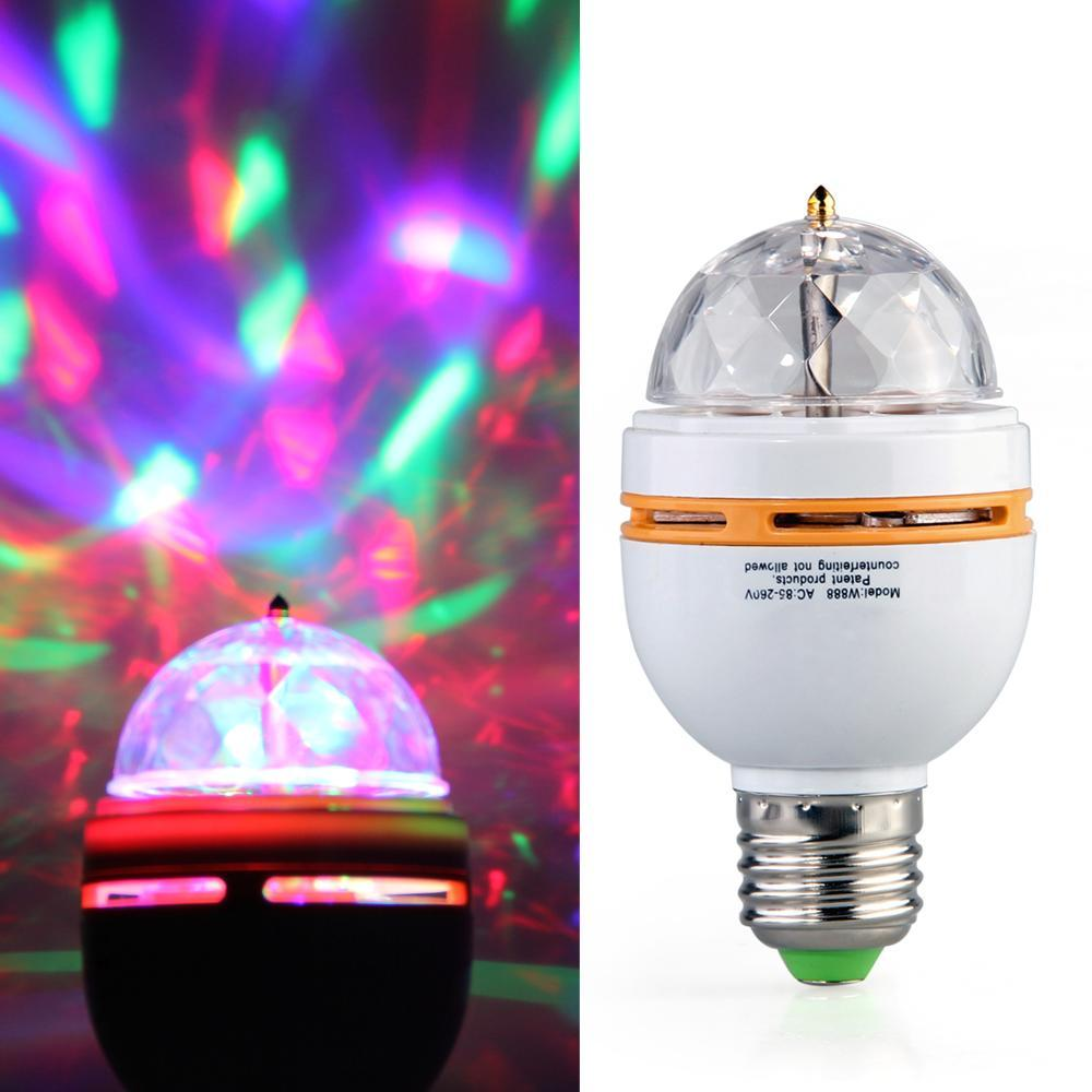 E27 Crystal Rotating RGB Colorful Lamp Spot Flash Light Bulb