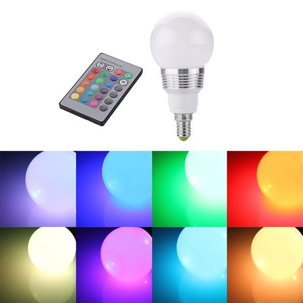 E14 RGB LED Globus Techlight Lampe 3W AC 230V 16 Farbe mit F