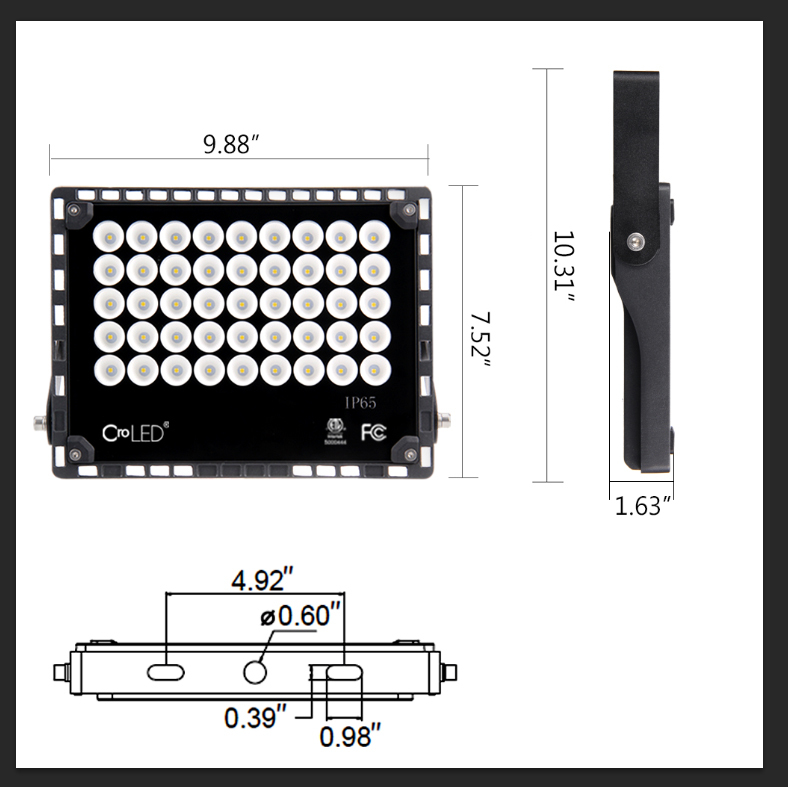 ETL-Listed 50W LED Flood Lights , CroLED 60° Super Bright