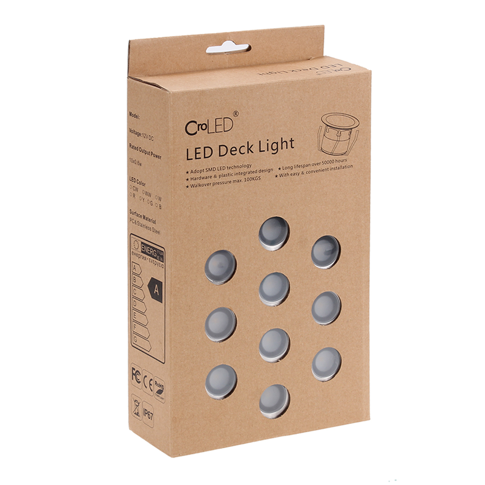 LOT 10 4500K LED Deck Plinth Lights 32mm White Lamp Waterpro