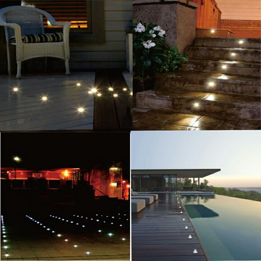 0.6W φ32mm LED Deck Light Floor Stairs Light IP67 *10 warm/