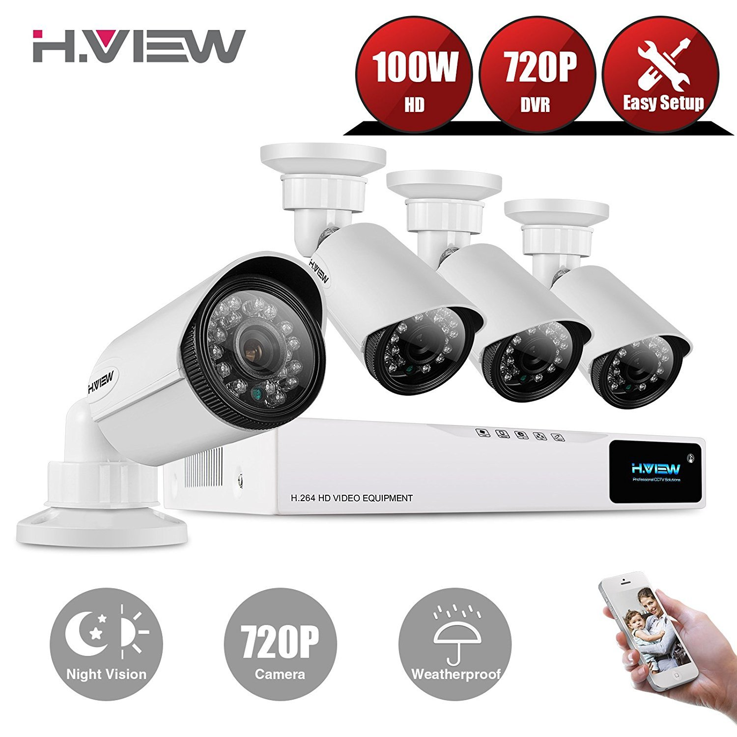 H.View 720p Home Security CCTV System, 4 Channel H.264 720P