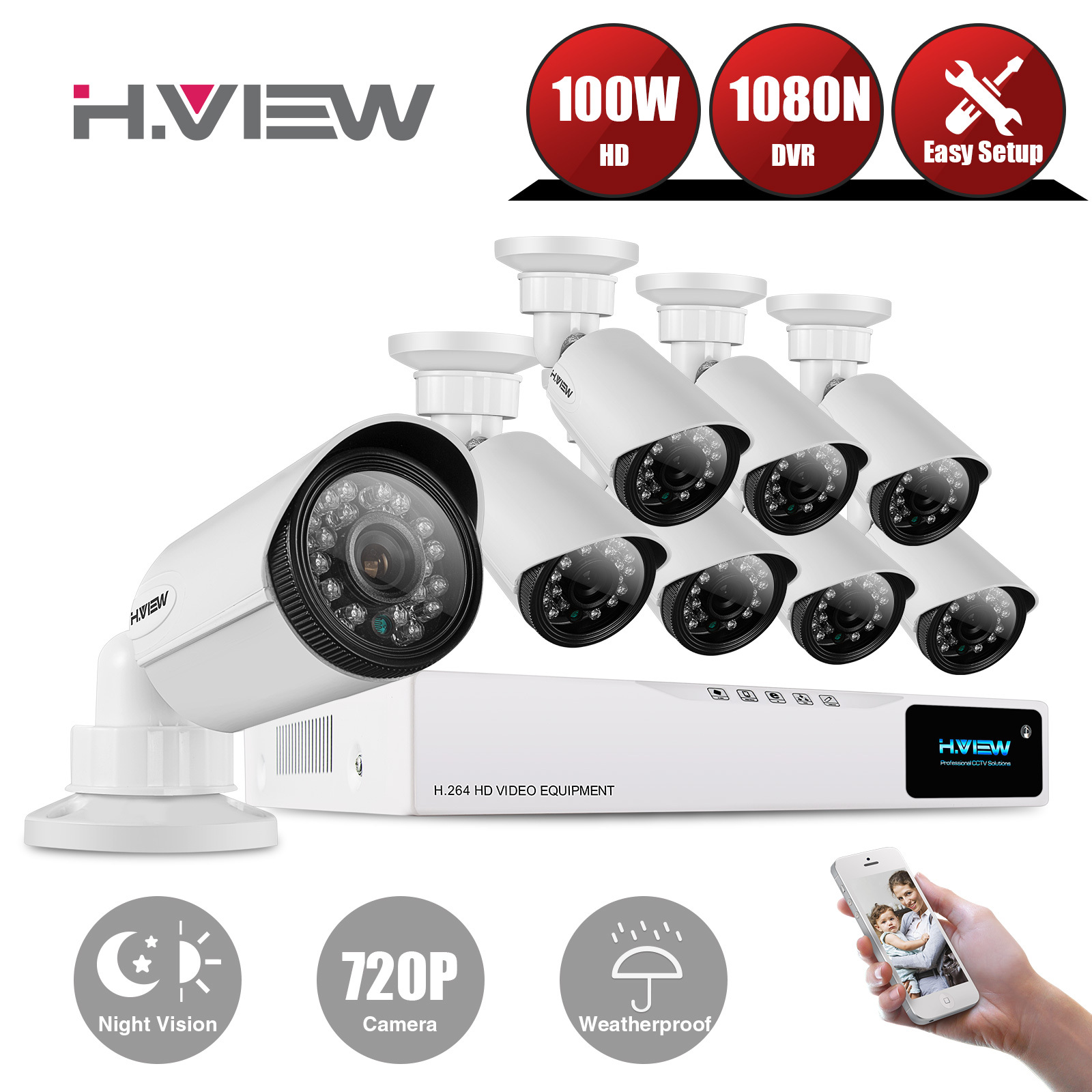 Home Video Surveillance Camera System, H.View 1200TVL 720P Outdoor ...