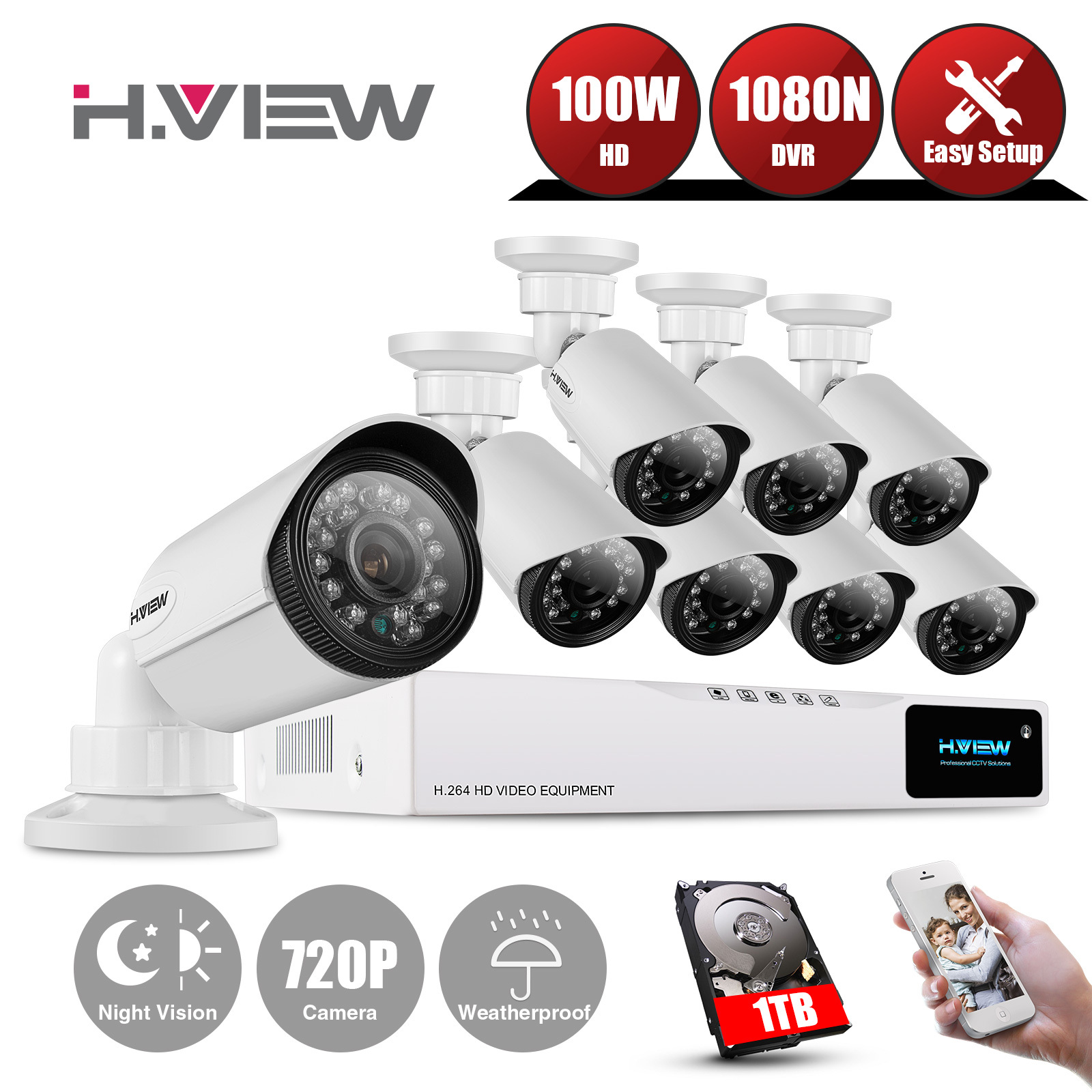 8CH HD Home Security Camera System 1TB HDD, H.VIEW 8 Channel