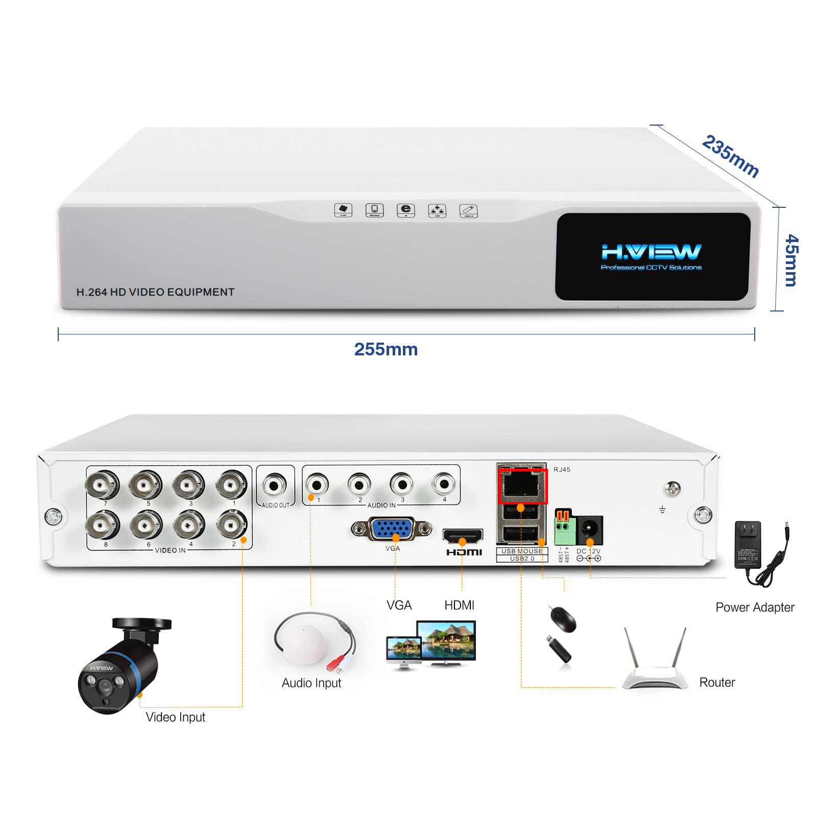 H.View 8CH CCTV-System 1TB HDD 8CH 1080P AHD DVR 8PCS 2.0MP