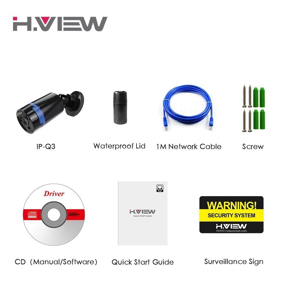 H.view HD 4.0mp PoE NVR HD Security Camera Black, 4 Megapixe
