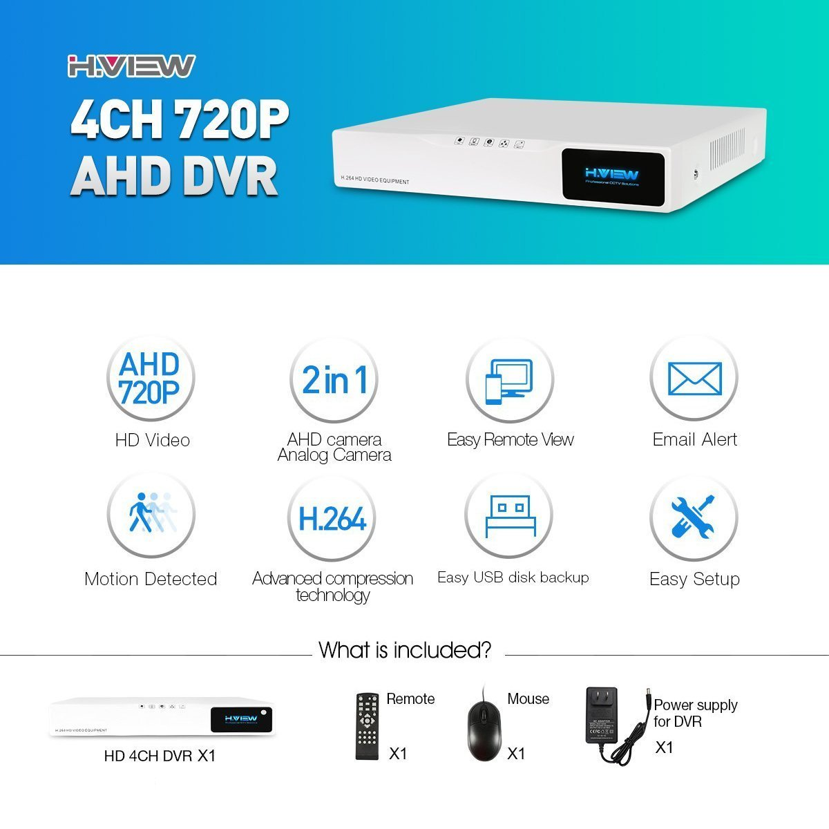 H.View 4CH Überwachungsvideo DVR Recorder, 720P HD Digitaler