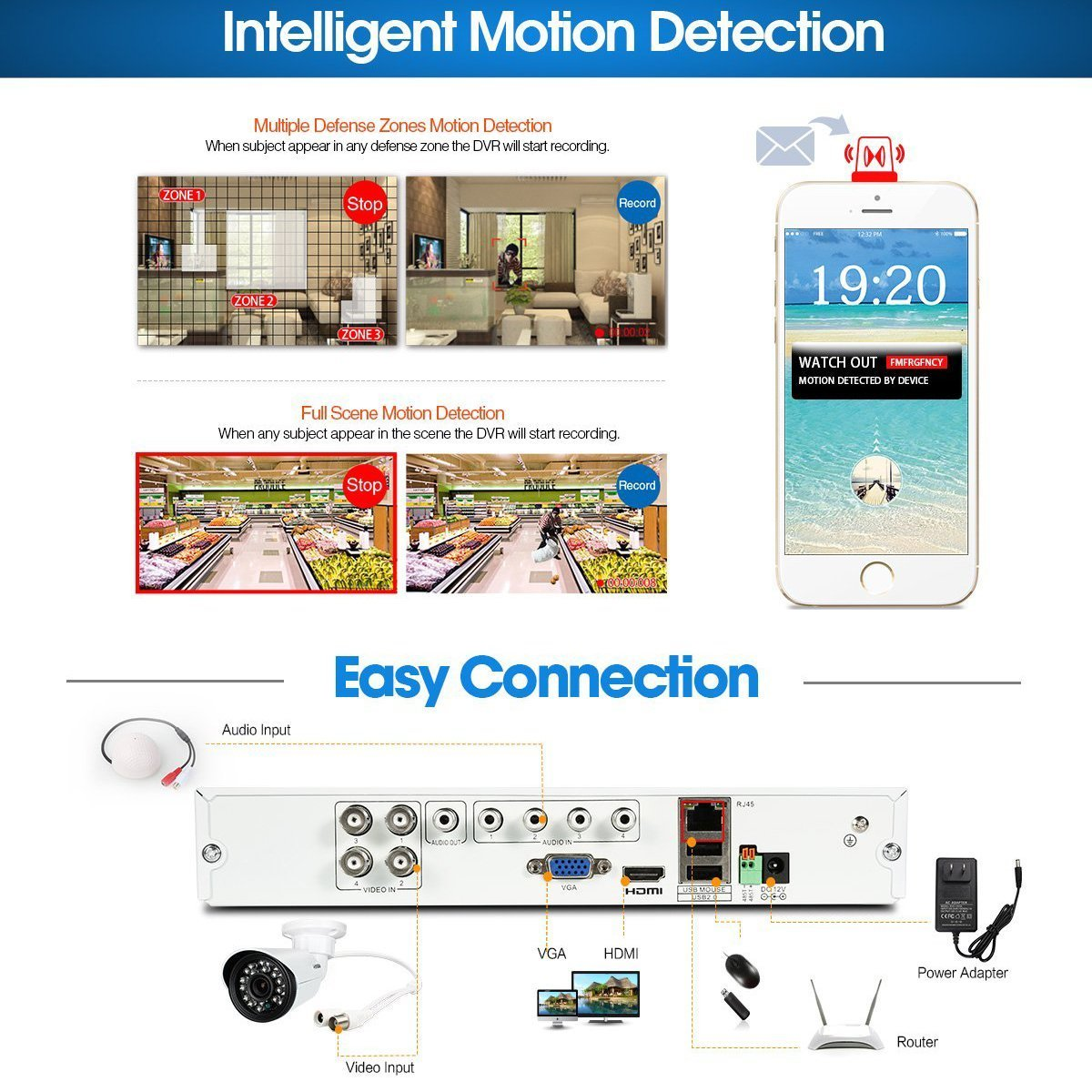 H.View 8CH 1080N AHD DVR 960H / 720P Recorder Digital sistem