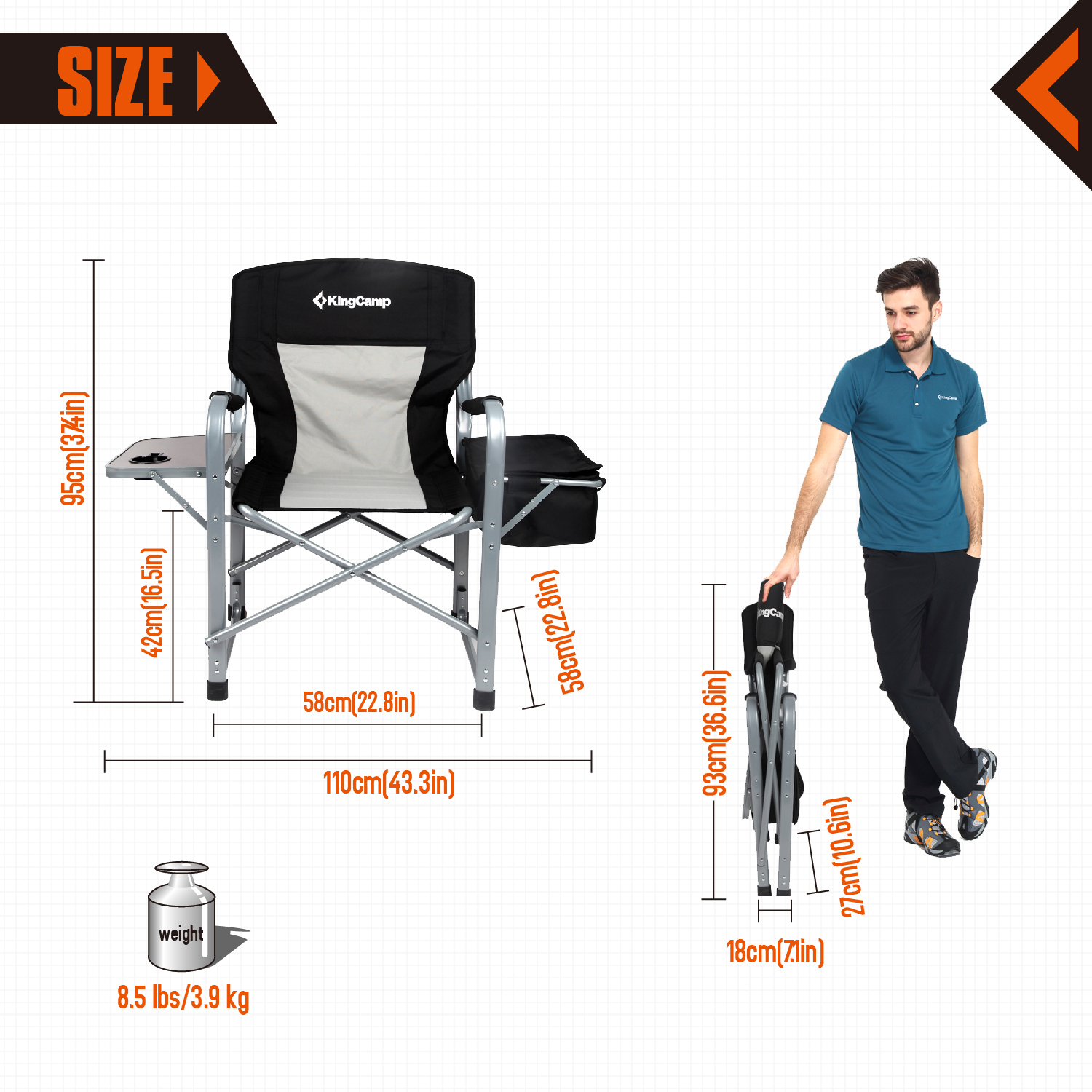 KingCamp Heavy Duty Steel Folding Chair / Directoru0027s Chair W