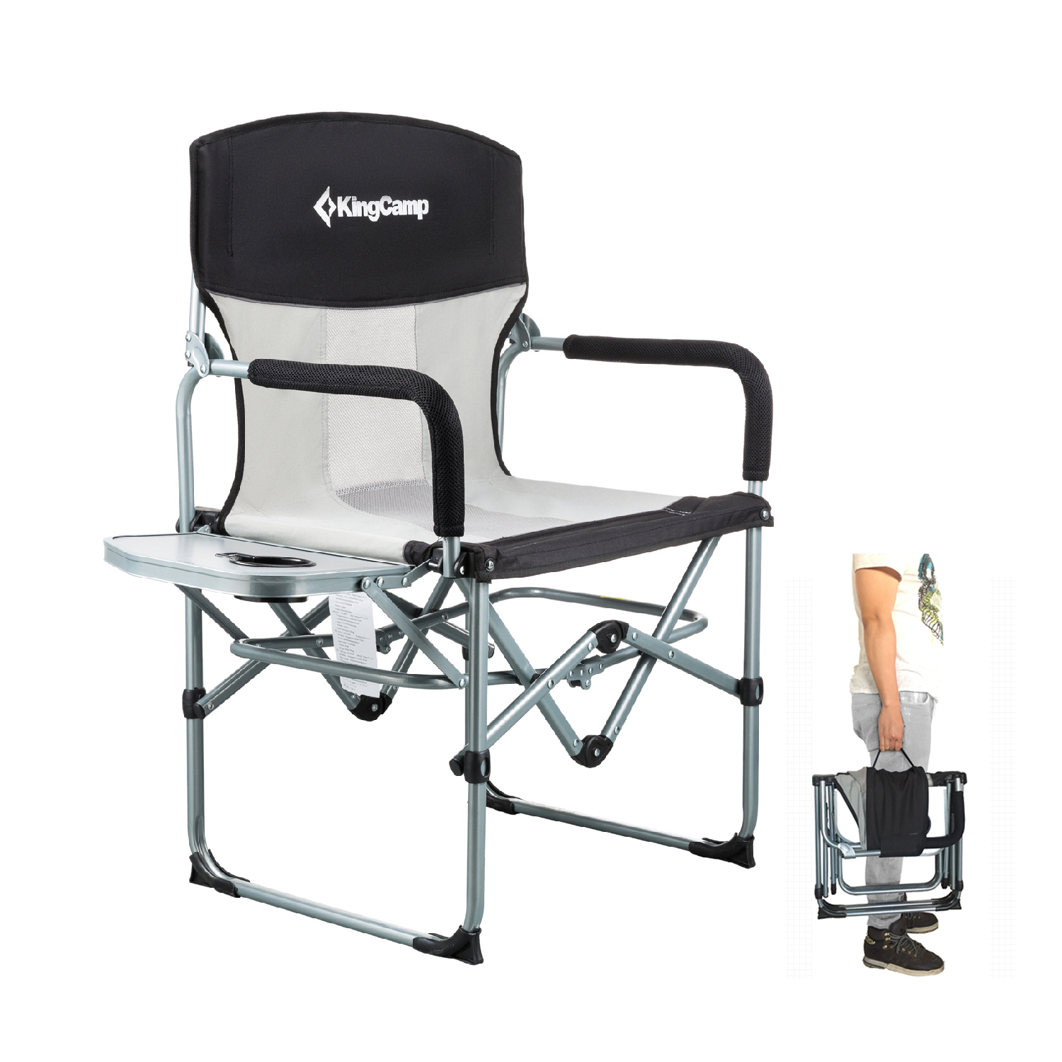 KingCamp Heavy Duty pact Folding Mesh Chair with Side Table and